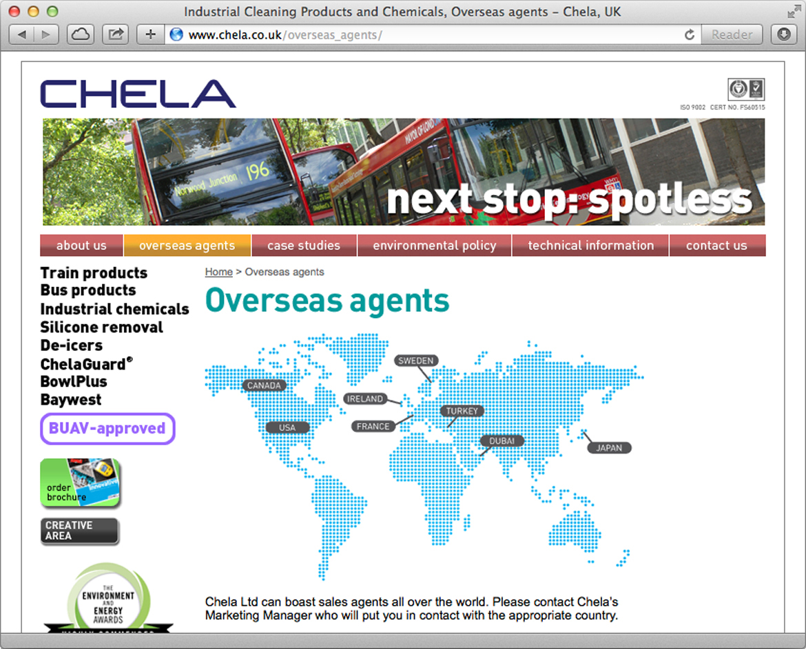 Chela - Overseas Agents page