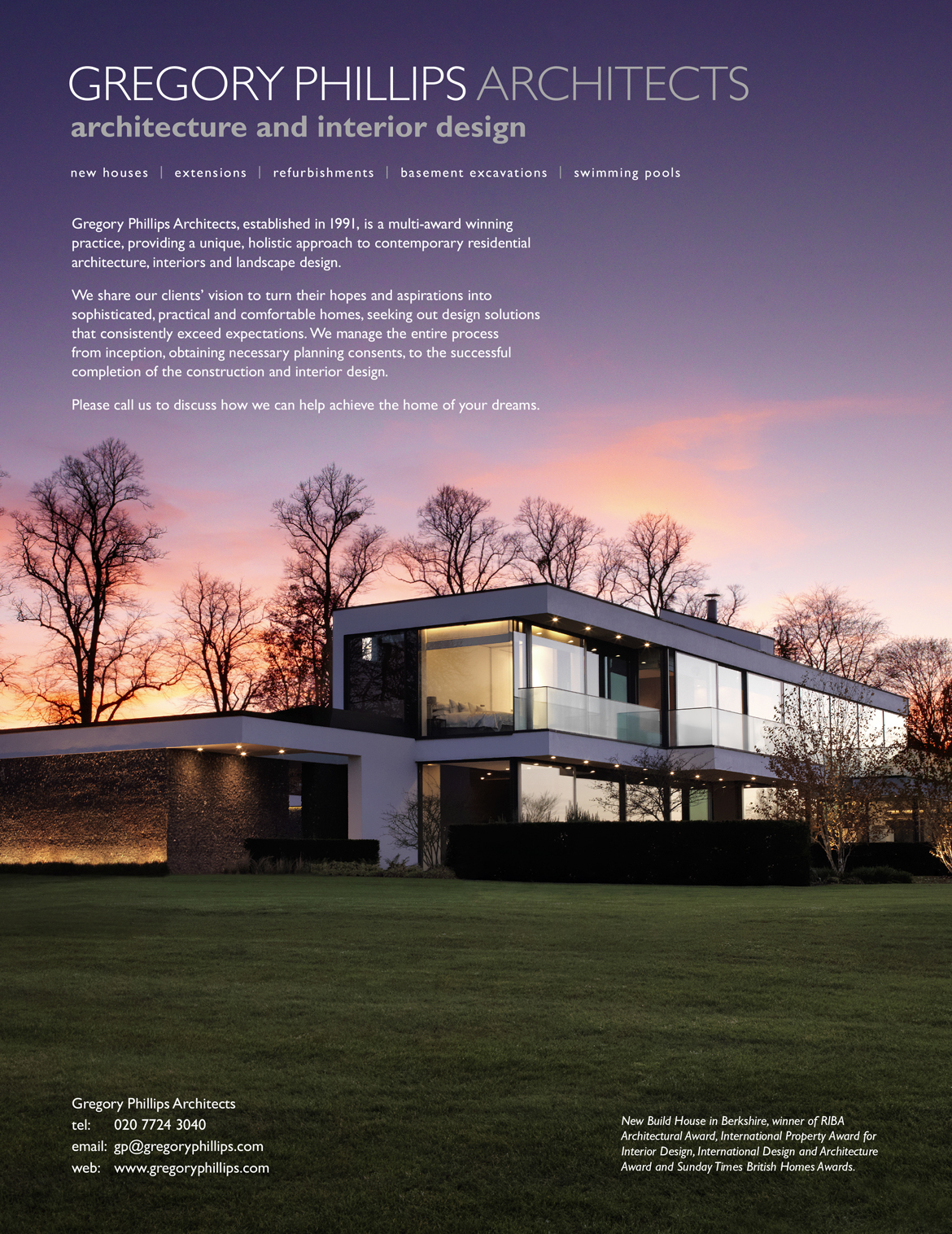 Gregory Phillips Architects Press Ads